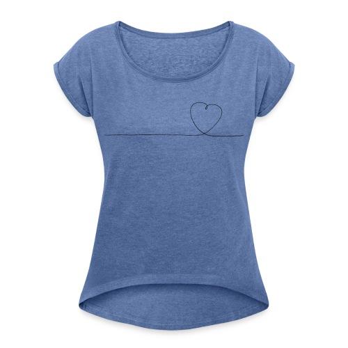 Herz Design - Frauen T-Shirt mit gerollten Ärmeln