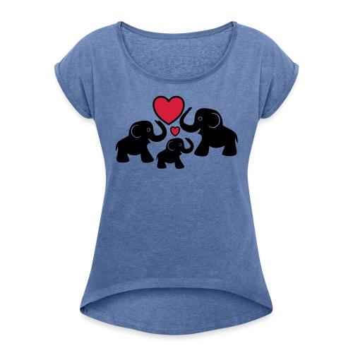 Zu dritt Elefanten Familie Mama Papa Baby Herz - Frauen T-Shirt mit gerollten Ärmeln