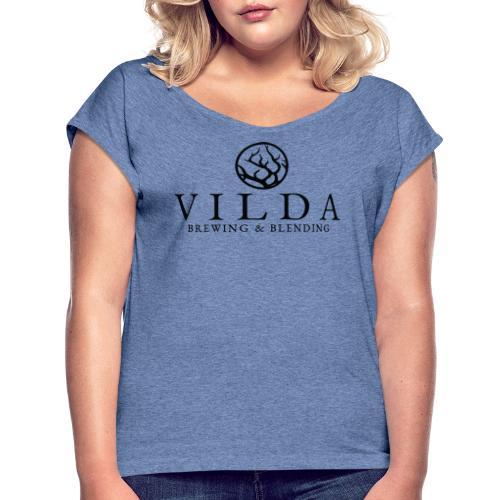 Vilda Black Logo - T-shirt med upprullade ärmar dam