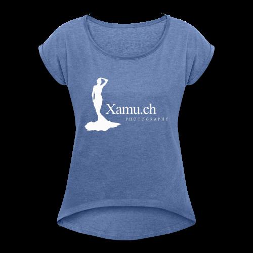 logoxamuweiss_gross_kl - Frauen T-Shirt mit gerollten Ärmeln