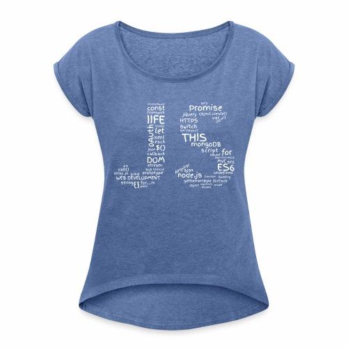 JS CLOUD biały - Koszulka damska z lekko podwiniętymi rękawami