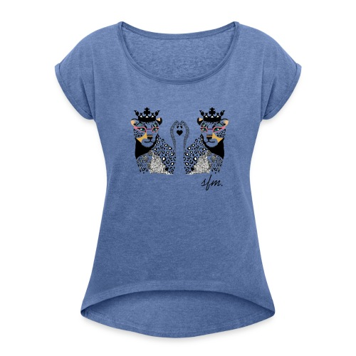KingLeo - Camiseta con manga enrollada mujer