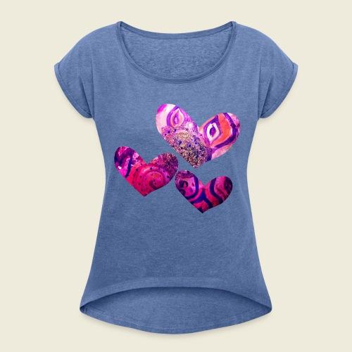 Traumhafte Herzen in pink - Frauen T-Shirt mit gerollten Ärmeln