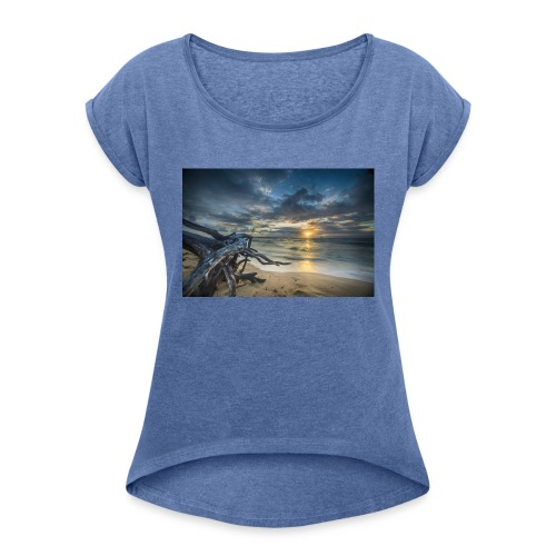 GLAD - T-shirt med upprullade ärmar dam
