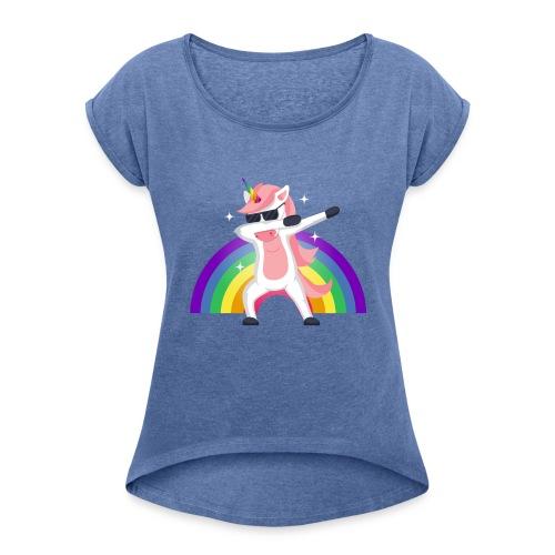 Koszulka jednorożec 12 - Koszulka damska z lekko podwiniętymi rękawami