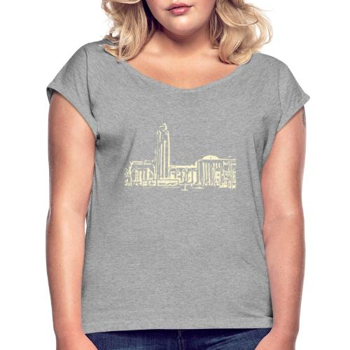 Helsinki railway station pattern trasparent beige - Women's T-Shirt with rolled up sleeves