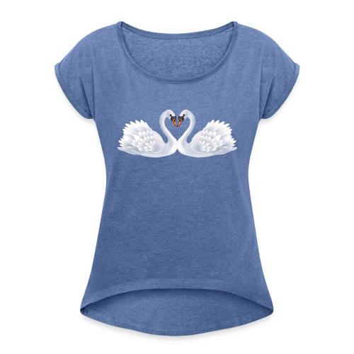 Swan hearts - T-shirt med upprullade ärmar dam
