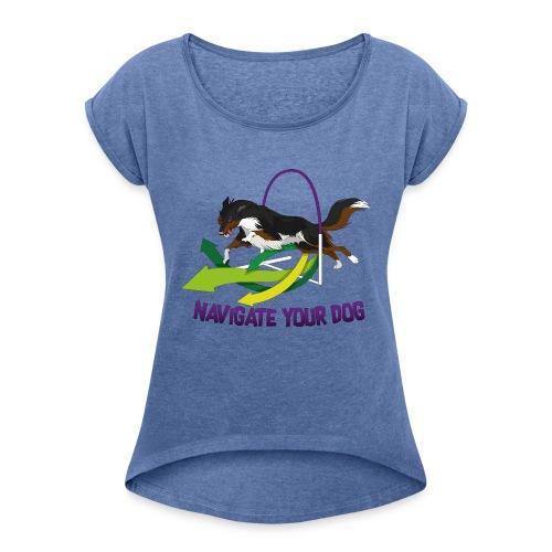 *nyd* Logo (für hellen Untergrund) - Frauen T-Shirt mit gerollten Ärmeln
