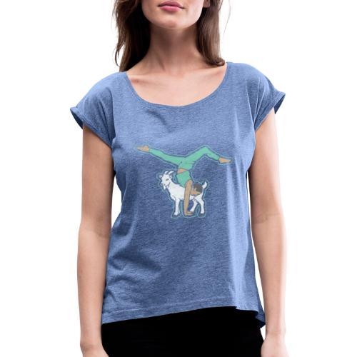 Ziegen Yoga - Frauen T-Shirt mit gerollten Ärmeln