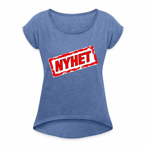 NYHET - T-shirt med upprullade ärmar dam