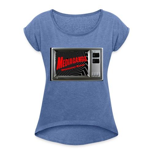 Mediaganda Logo - Frauen T-Shirt mit gerollten Ärmeln
