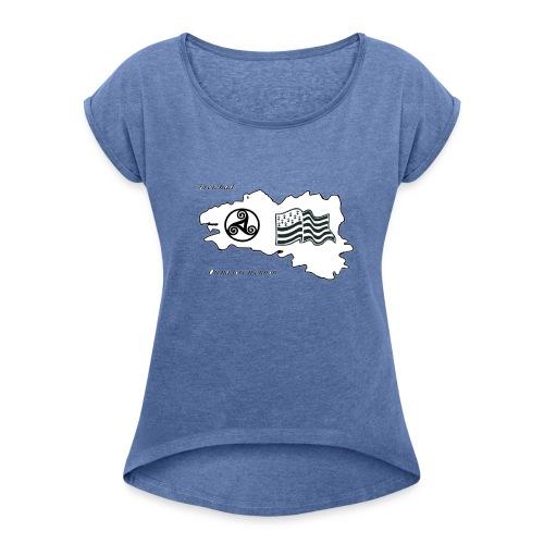 t-shirt Fier d'etre breton - T-shirt à manches retroussées Femme