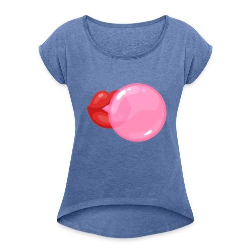 Koszulka usta 11 - Koszulka damska z lekko podwiniętymi rękawami