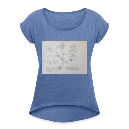 15342616025805381940484396166323 - Camiseta con manga enrollada mujer
