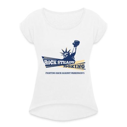Rock Steady Boxing Logo2 4c wtag - T-skjorte med rulleermer for kvinner