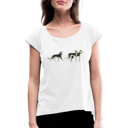 Drei Salukis - Frauen T-Shirt mit gerollten Ärmeln