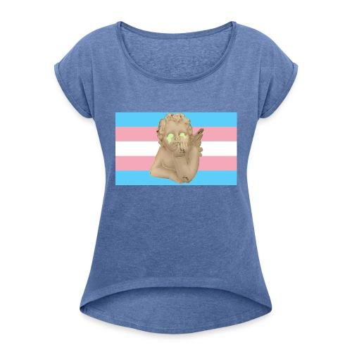 Transgender flag - T-skjorte med rulleermer for kvinner