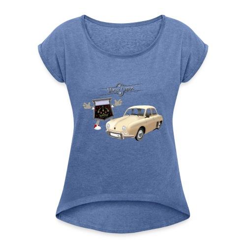 Dauphine Beige - T-shirt à manches retroussées Femme
