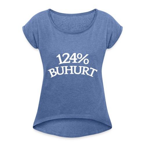 124 - Naisten T-paita, jossa rullatut hihat