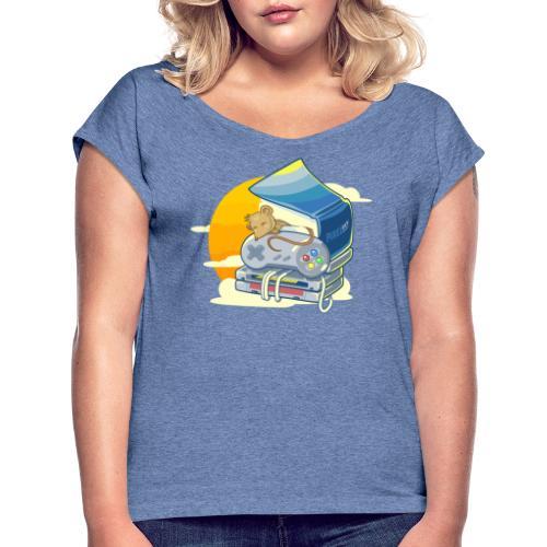Retro-Leseratte - Frauen T-Shirt mit gerollten Ärmeln