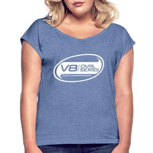 Alternatief logo wit - Vrouwen T-shirt met opgerolde mouwen
