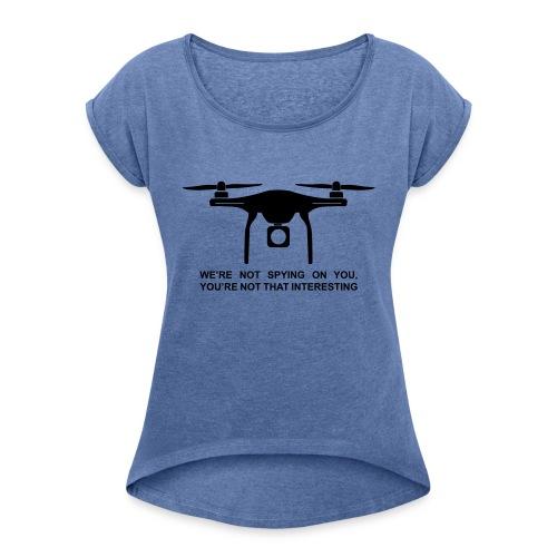 Drone #1 - T-skjorte med rulleermer for kvinner