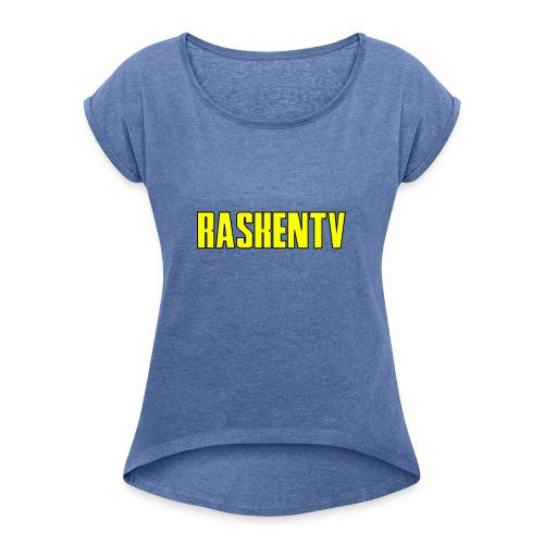 RaskenTv Yellow - T-shirt med upprullade ärmar dam