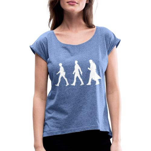 White Design With Title and Characters - Women's T-Shirt with rolled up sleeves