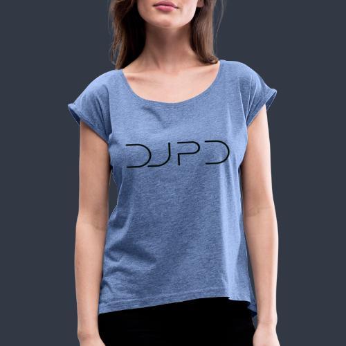 DJ PD in black - Frauen T-Shirt mit gerollten Ärmeln