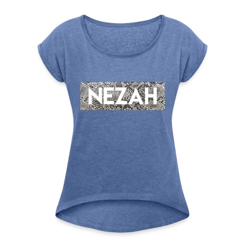 Nezah Snake Skin Box Logo - Women's T-Shirt with rolled up sleeves