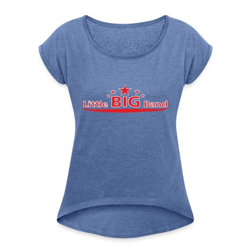 T Shirt rot-weisse Schrift - Frauen T-Shirt mit gerollten Ärmeln
