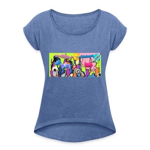 cats and dogs - Women's T-Shirt with rolled up sleeves