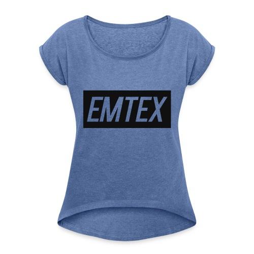 emtexshirtlogo - Dame T-shirt med rulleærmer