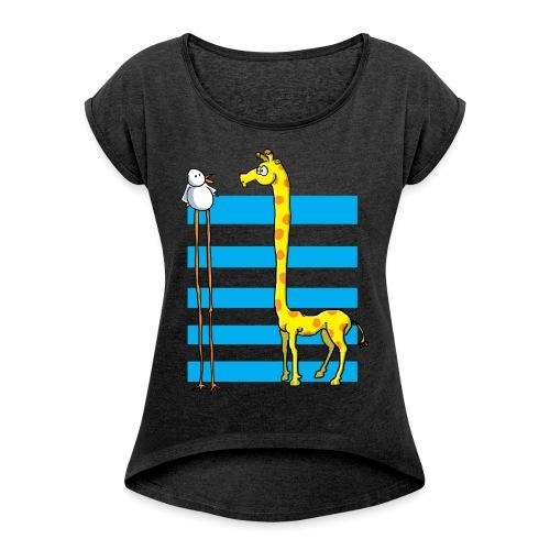 La girafe et l'échassier - T-shirt à manches retroussées Femme