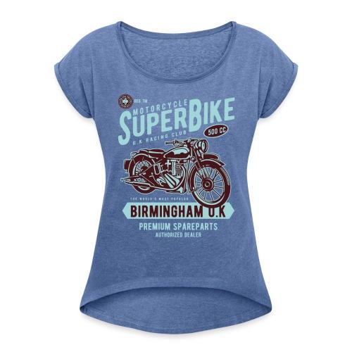 T-Shirt Moto Vintage années 50/60 - T-shirt à manches retroussées Femme