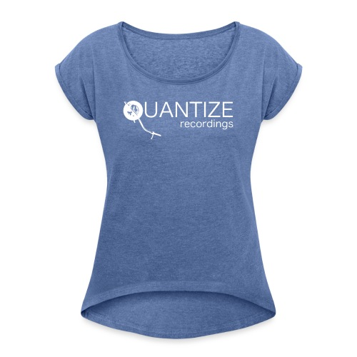 Quantize White Logo - Women's T-Shirt with rolled up sleeves