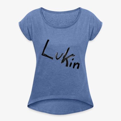 Lukin i sort - Dame T-shirt med rulleærmer