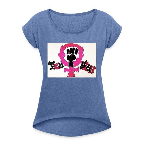 FemSlay Logo - Frauen T-Shirt mit gerollten Ärmeln