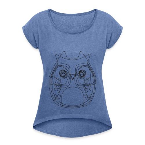 VEYM The Eulen DARK - Frauen T-Shirt mit gerollten Ärmeln