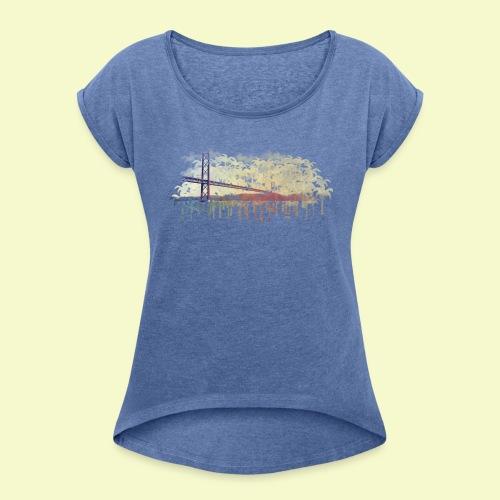 | Almada Brücke Palmen | - Frauen T-Shirt mit gerollten Ärmeln