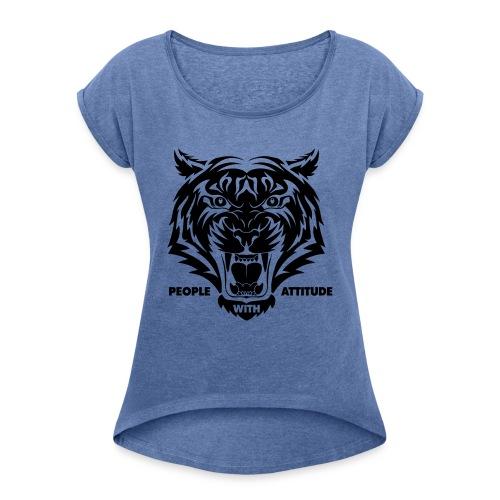 tijger-zwart - Vrouwen T-shirt met opgerolde mouwen