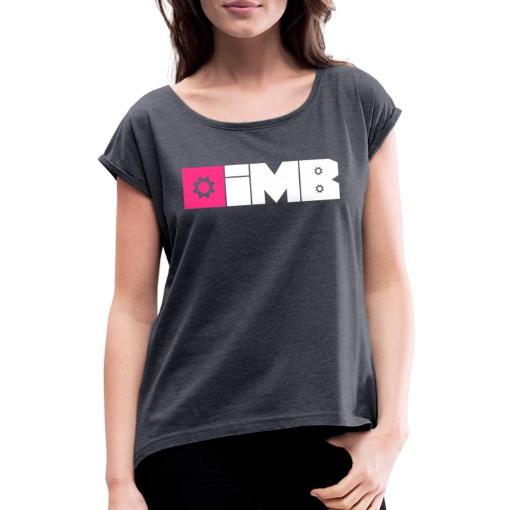 IMB Logo (plain) - Women's T-Shirt with rolled up sleeves - navy heather