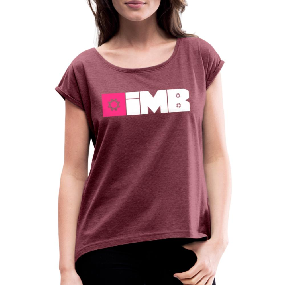 IMB Logo (plain) - Women's T-Shirt with rolled up sleeves - heather burgundy