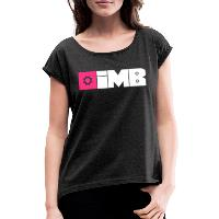 IMB Logo (plain) - Women's T-Shirt with rolled up sleeves heather black