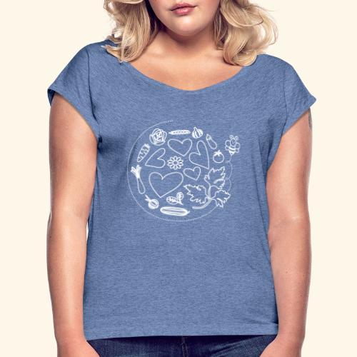Abeja en el huerto - Camiseta con manga enrollada mujer