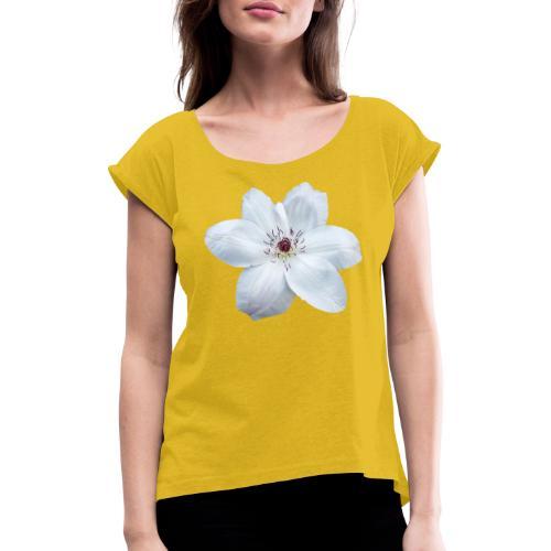 Jalokärhö, valkoinen - Naisten T-paita, jossa rullatut hihat