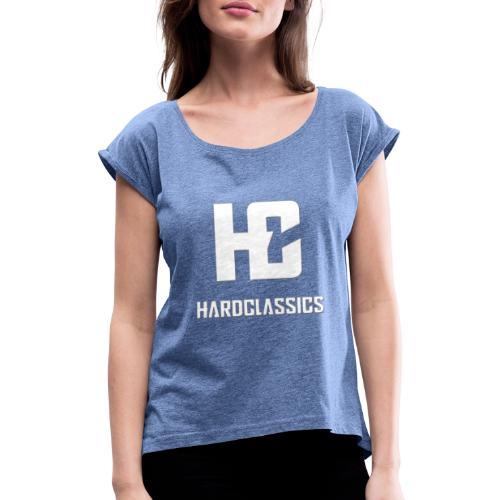 HC tekst logo - Vrouwen T-shirt met opgerolde mouwen