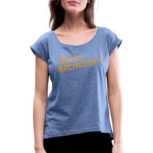 Brunost - T-skjorte med rulleermer for kvinner