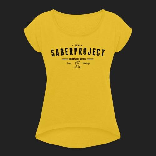 Vintage Lightsaber Action - Frauen T-Shirt mit gerollten Ärmeln