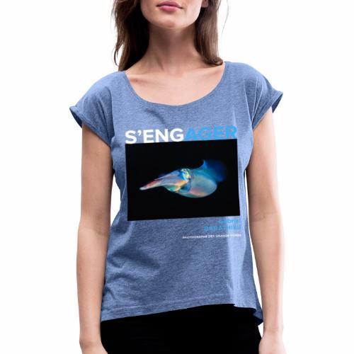 1 Achat = 1 Don à l'association Deep blue explore - T-shirt à manches retroussées Femme